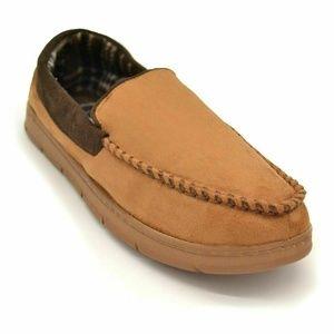 Mens Moccasin Slipper Size L 9.5-10.5  Tan New